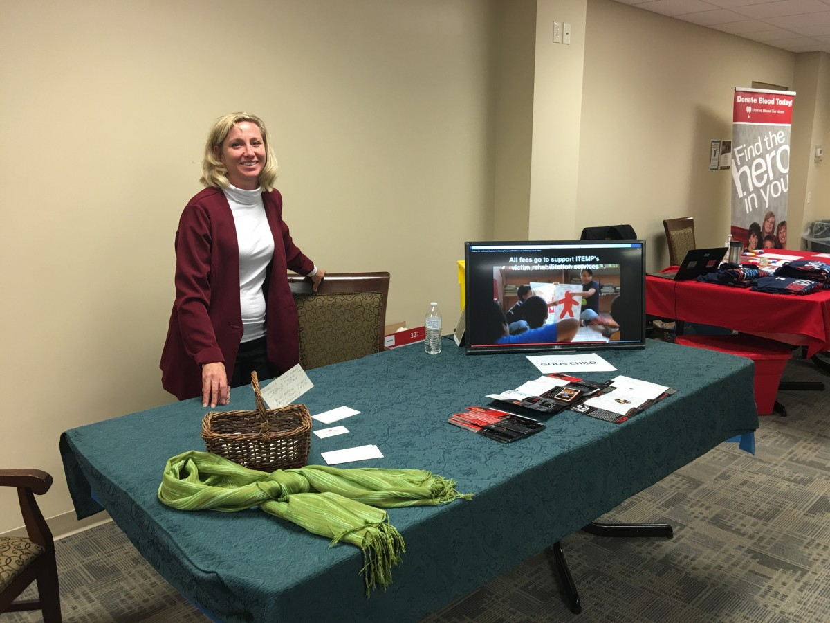 heather mcFall at human trafficking info booth