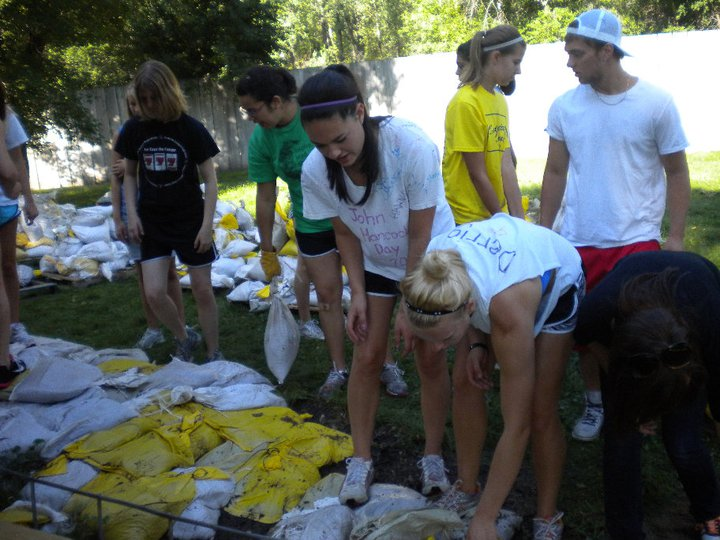 volunteers and bags